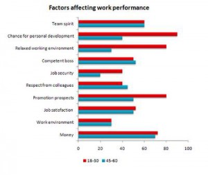 The bar chart shows the result of a survey about which factors affect the work performance.